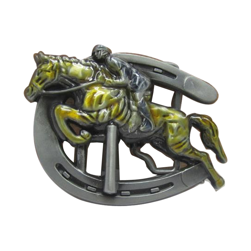Top 1. Fun Fashion classic cowboys belt buckle metal exquisite 3D horse racing western brand diy mens designer belt buckles new year gift