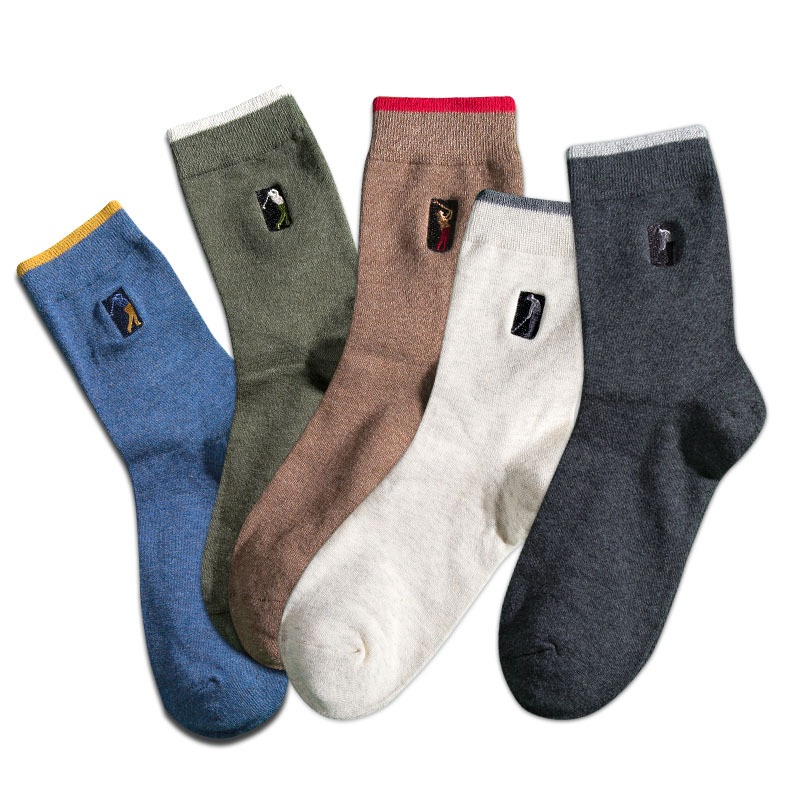 High Quality Casual Mens Business Socks For Men Cotton Brand Crew Autumn Winter Solid Embroidered Socks meias homens 5 Pairs