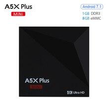 Original Mini RK3328 A5X Plus Android 7.1 Smart Tv Box Quad-Core 1 GB DDR3 8 GB EMMC 4 K H.265 decodificador De Vídeo Mini PC HD Set Top caja