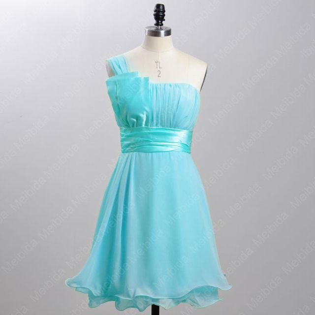3c925ea36 Corto de Color Turquesa Vestido de Fiesta 2016 Nueva Gasa de La Llegada  Zafiro Azul Vestidos