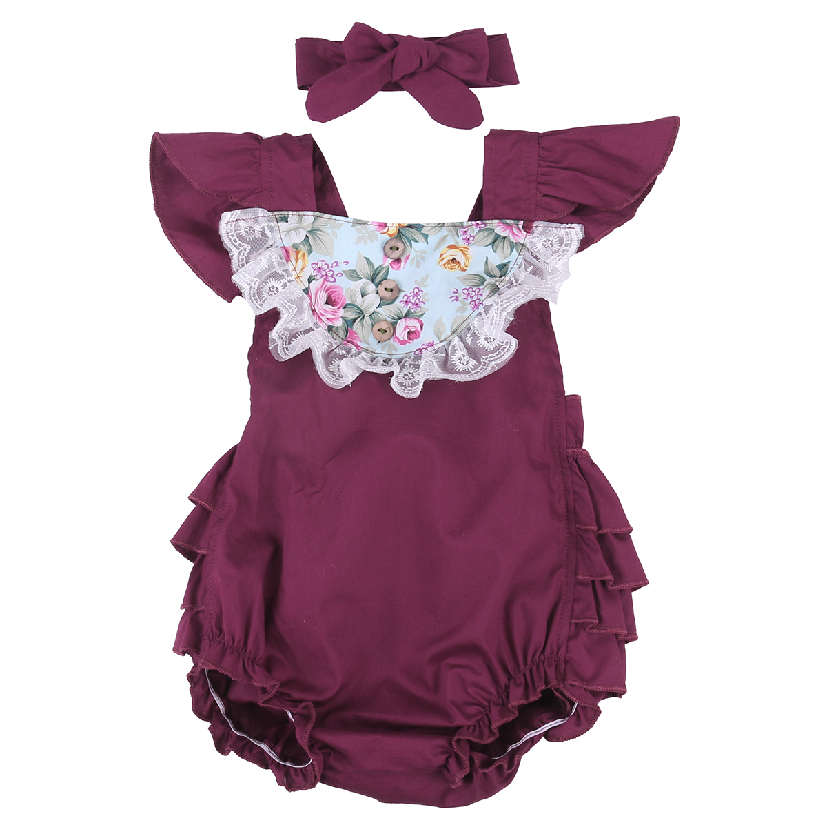 2017 Summer Baby Clothes Floral Ruffles Romper Sunsuit Fly Sleeve Tutu Tulle+Headband Outfit Clothing 2017 floral baby romper newborn baby girl clothes ruffles sleeve bodysuit headband 2pcs outfit bebek giyim sunsuit 0 24m