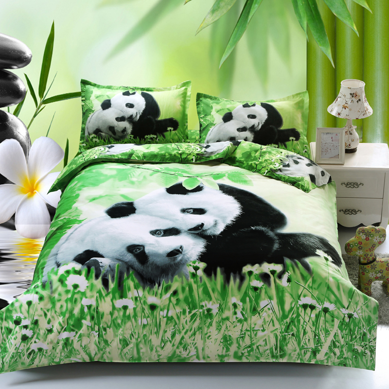 cartoon style polyester cotton green 3d baby panda angel. Black Bedroom Furniture Sets. Home Design Ideas