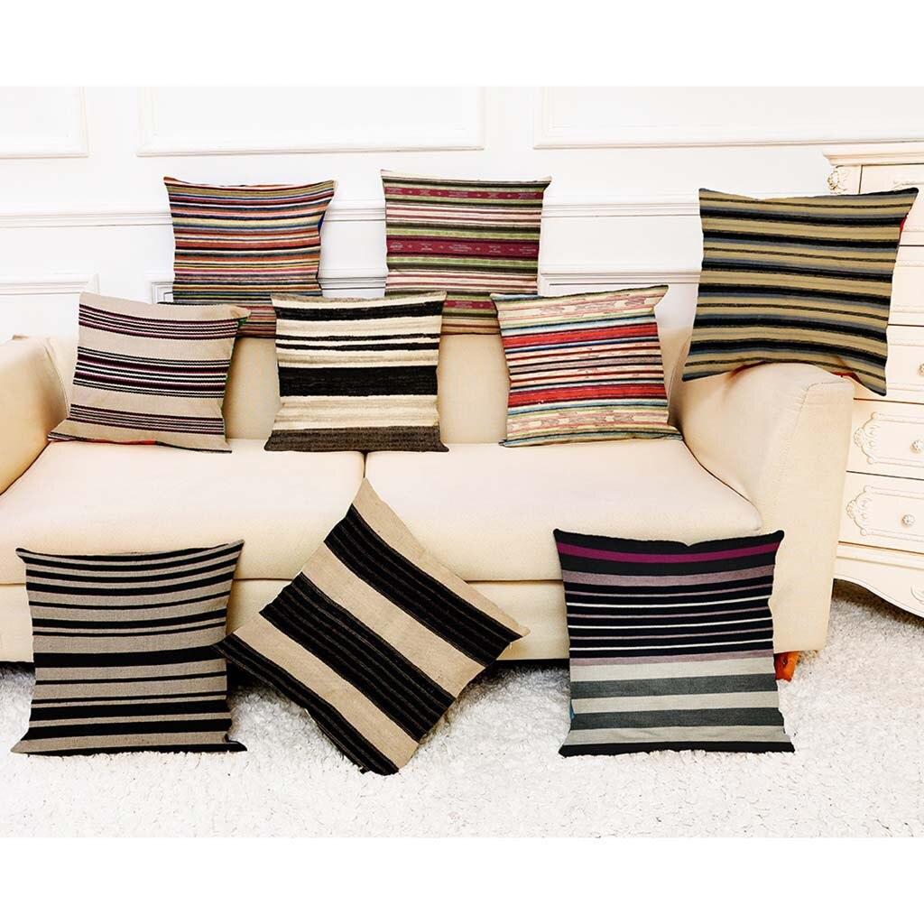 Striped Printing Throw Pillowcase Sofa Cushion Pillow Cover Dining Room Decor