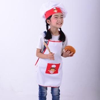 çocuklar Pişirme Kostümleri çocuk önlük şef şapka Set Bebek şef