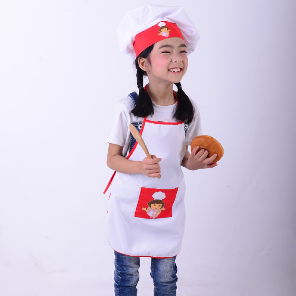 kids cooking costumes children apron chef hat set baby chef costume for craft art cooking. Black Bedroom Furniture Sets. Home Design Ideas
