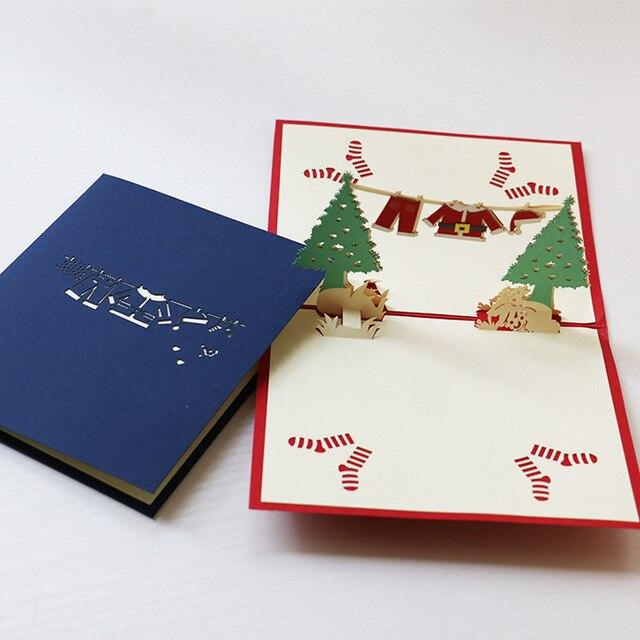 3D Stereoskopischen Aushöhlen Weihnachtsbaum Weihnachten Kleidung  Grußgeschenkkarte Geburtstag Party Weihnachten Einladung Postkarte DIY  Karten
