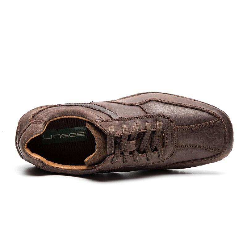 LINGGE Brand Men Shoes Genuine Leather Lace-Up Men Shoes Rubber Sole Non-Slip Casual Shoe Men Daily Vintage Shoe Handmade