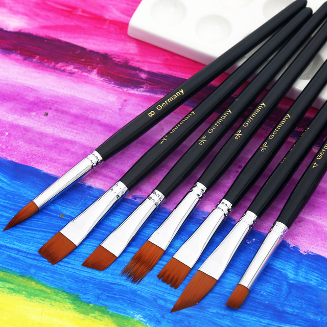 12Pcs Watercolor Paint Brushes Set Nylon Hair Painting Brush Variety Style Short Rod Oil Acrylic Painting Brush Pen Art Supplies 3