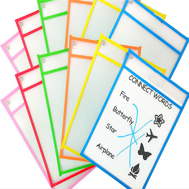 5Lots(5+5 ) Puzzle Toys Can Be Reused With PVC Transparent Dry Brush Bag PET Writing Dry Wipe Bag Drawing Toy For Children Adult