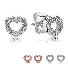 Heart Zircon Stud Earrings For Women Clear CZ Crystal Brand Fine Jewelry Femme Brincos