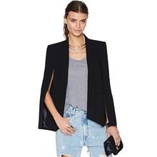 2017 Fashion Cloak Cape Blazer Women Coat Black Lapel Split Long Sleeve Outerwear Pockets Solid Casual Suit Jacket Workwear XL black side pockets long sleeves outerwear