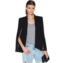 2017 Fashion Cloak Cape Blazer Women Coat Black Lapel Split Long Sleeve Outerwear Pockets Solid Casual Suit Jacket Workwear XL black fashion side pockets hoodie quilted outerwear