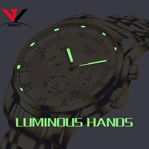Image 5 - Luksusowe markowe zegarki męskie NIBOSI Chronograph mężczyźni sport czarne zegarki wodoodporny pełny stalowy biznes mężczyźni zegar Relogio Masculino