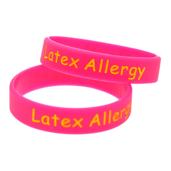 1PC Candy Color Alert Latex Allergy Silicone Wristband in Kid Size 1