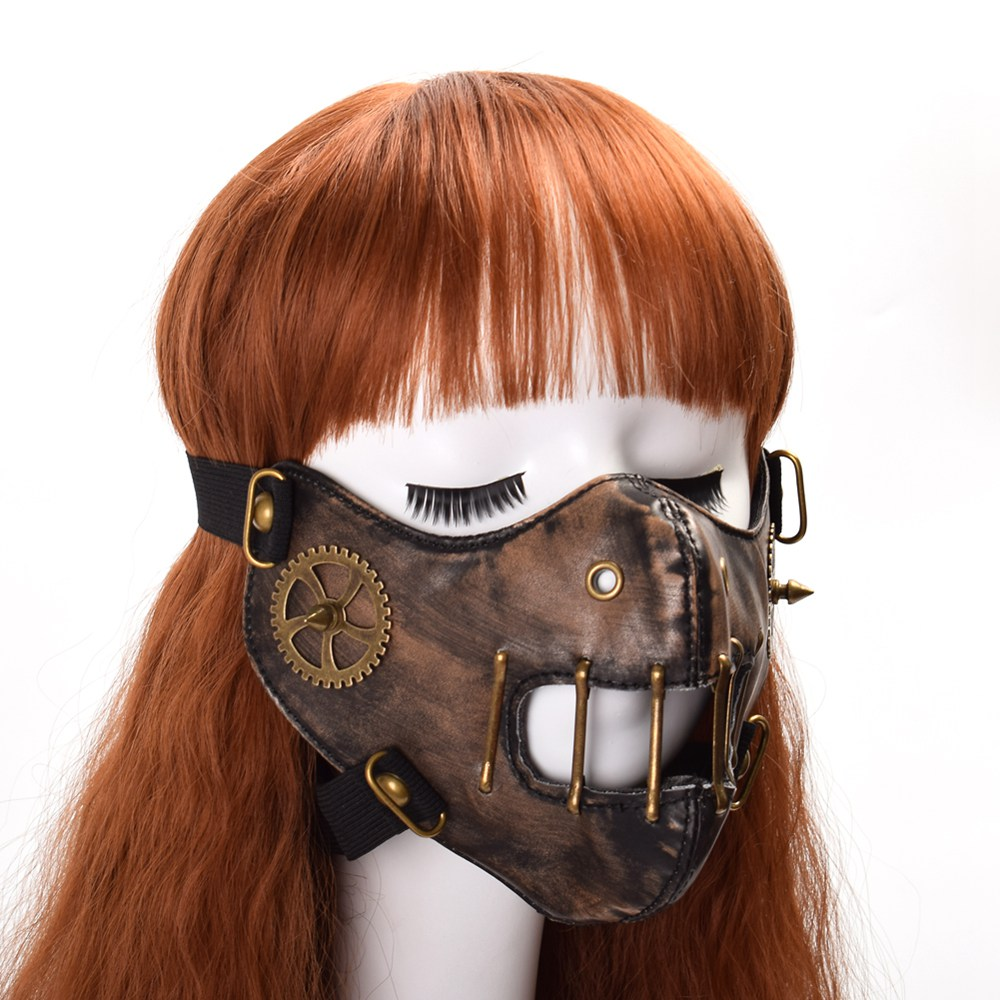 Halloween Steampunk Face Mask Unisex Gothic Punk Gear Rivet Cosplay