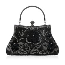 New 2018 Vintage Style Beaded Floral Evening Clutch Bag Wedding Party Prom  Purse Handbag Women( a230a3be1d2d
