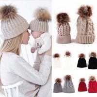 2PCS Set Family Hat Infant Winter Knit Crochet Caps Faux Fur Beanie Hat Mother Daughter Son