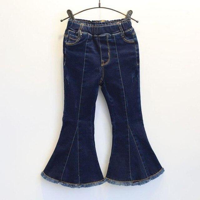 Новый 201 Весна Дети Девушки джинсовые расклешенные Джинсы