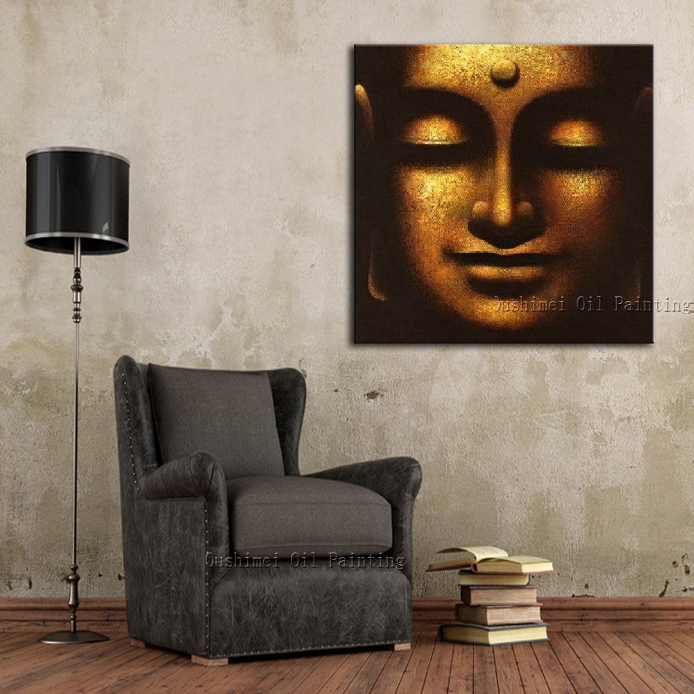 Mükəmməl keyfiyyət təəssüratı Hindistan Budda Portret Yağlı - Ev dekoru - Fotoqrafiya 3