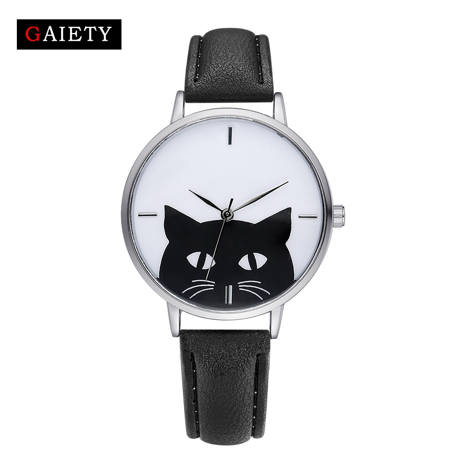 GAIETY Fashion Women Sport Watches Leather Strap Cartoon Cat Dial Classic Luxury Ladies New Silver Quartz Analog Sport Watch gaiety casual women quartz watch women leather bracelet fashion watch ladies classic rose dial wristwatch colorful gift g189