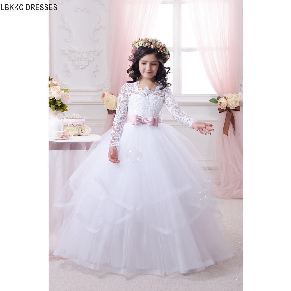 Long Sleeve White Tulle Lace   Flower     Girl     Dresses   For Weddings Graduation   Dresses   Kids Beauty Pageant   Dresses   For Little   Girls
