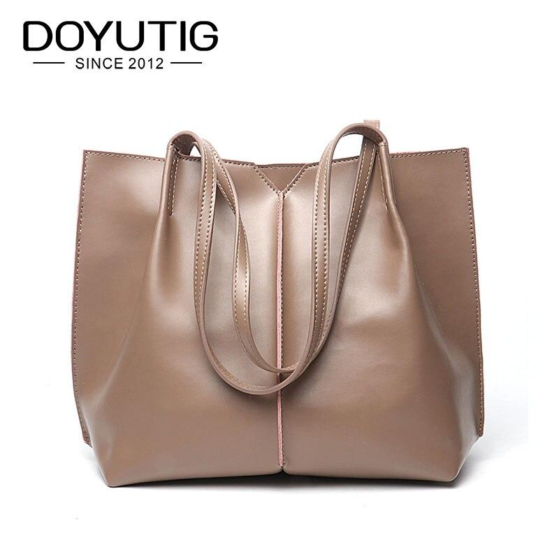 DOYUTIG European Design Women's Big Handbag Genuine Leather Cowhide Handbags Lady Genuine Leather Large Capacity Big Totes F622