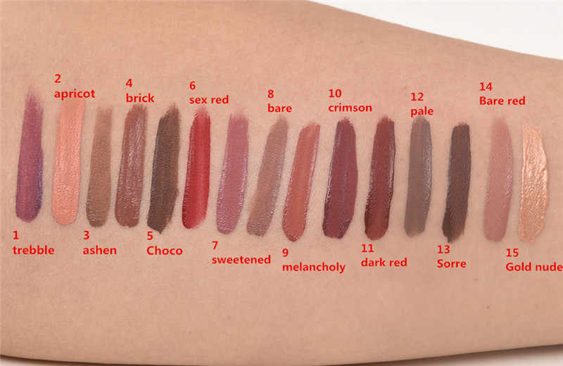 2018 חדש אופנה איפור שפתון מט שפתון חום עירום שוקולד צבע שפתון נוזלי גלוס מט Batom 1 pc