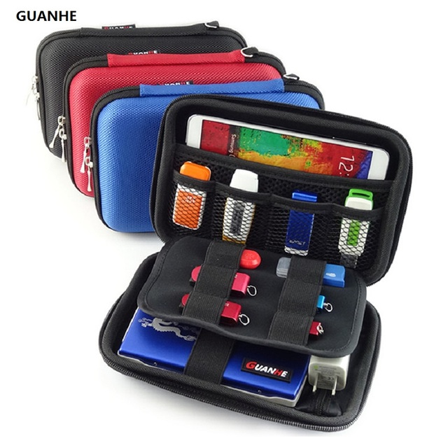 GUANHE External Hard Drive Case Bag Electornics Accessories Organizer Bag For 2.5 Inch Hard Drive,Estern Digital,Toshiba,Seagate