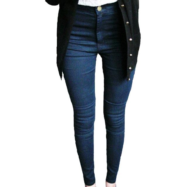 Plus pantalones vaqueros del tamaño Femme Jegging mujeres americanas flaco Vintage cintura alta de estiramiento delgados negro Denim de algodón pantalones lápiz pantalones lavados K093
