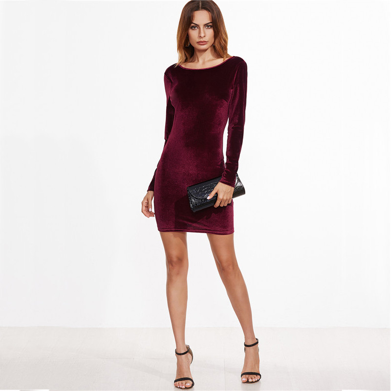 COLROVIE Sexy Club Outfits European Style Dress Party Short Long Sleeve Dress Burgundy Open Back Velvet Bodycon Dress 6
