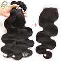 Queen Hair Brazilian Body Wave With Closure Sexy Formula 3 Bundles Brazilian Virgin Human Hair Extensions With Lace Closure