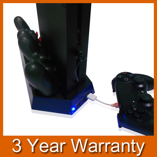 Двойной контроллер USB устройство для док-станции стенд база зарядки + охлаждения кулер вентилятор для Sony Playstation 4 PS4 игровой контроллер