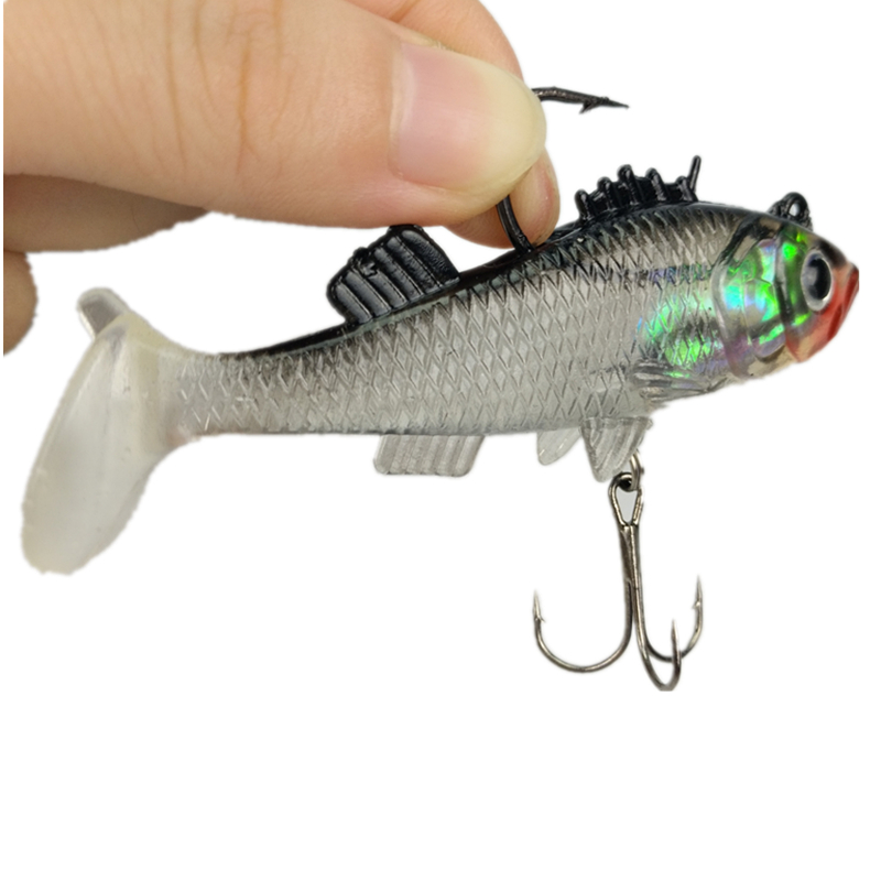 Paillette 7.6cm 15g Lead fish Long Tail Fishing Lure bass Soft bait Carp Crankbait with Treble Tackle Hooks Fishing Accessories 2017 hot fishing bait cage carp fishing accessories swivel with line hooks for fishing tackle free shipping