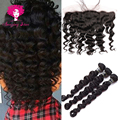 Lace Frontal Bundle Amazing Star Peruvian Loose Wave Virgin Hair with Frontal,Ali Moda Frontal with Bundles,Stema Hair Company