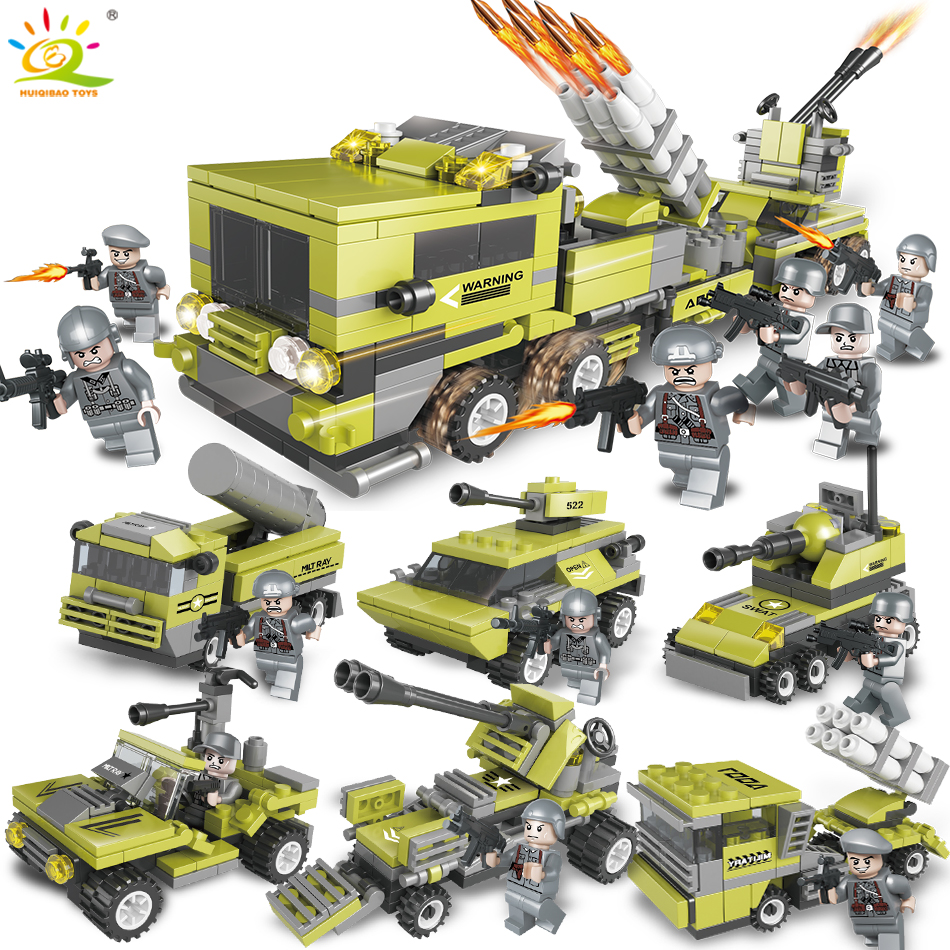 657pcs 6in1 Military Army Truck soldier Building Blocks Compatible legoed technic weapon DIY bricks Educational Toy for Children