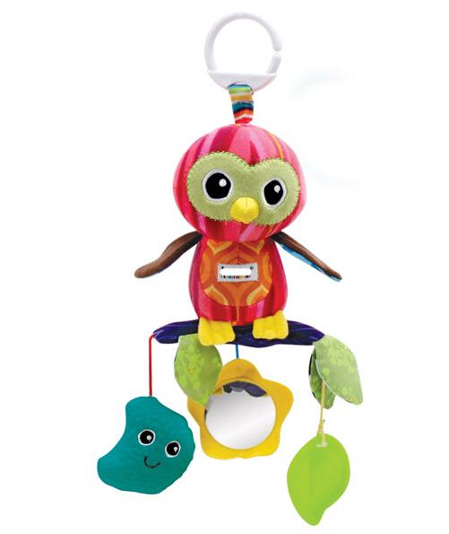 Candice guo! venda quente do bebê de brinquedo de presente colorido papagaio brinquedos de pelúcia multiuso cama sino cama pendurar com espelho 1 pc seguro
