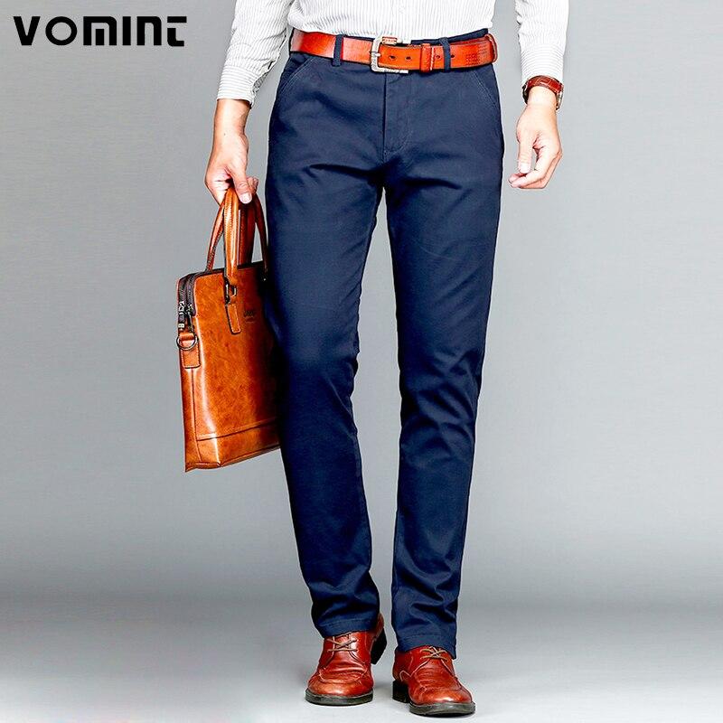Vomint бренд мужской брюки классические Повседневное Бизнес стрейч брюки прямые брюки цвет: черный, синий хаки 4 цвета Большой Размер (44) 46
