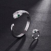 Fashion personality alternative popular zircon set luxury snake simple mouth bully lady bracelet