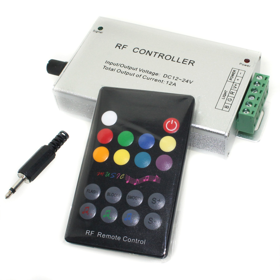 Led Music RGB Controller With 18 Key RF Remote Black DC12V 24V Audio Sound 3 Channel