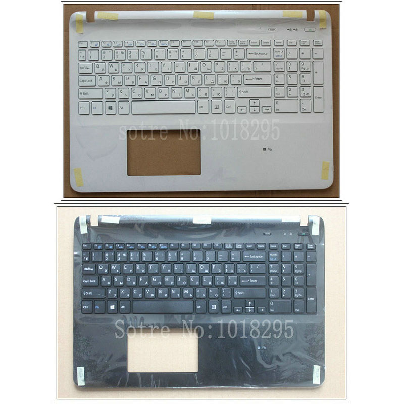 Laptop Russian keyboard for sony Vaio SVF15 SVF152 FIT15 SVF151 SVF153 SVF1541 SVF15E black/white RU with Palmrest Cover laptop keyboard for dexp for atlas h107 h108 h110 h117 h118 h119 black without frame ru russian