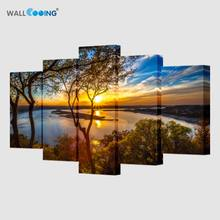 5 Pieces Lake Landscape Large Size beautiful Modern Home Wall Decor Canvas Print Oil Painting Art Picture House Decoration