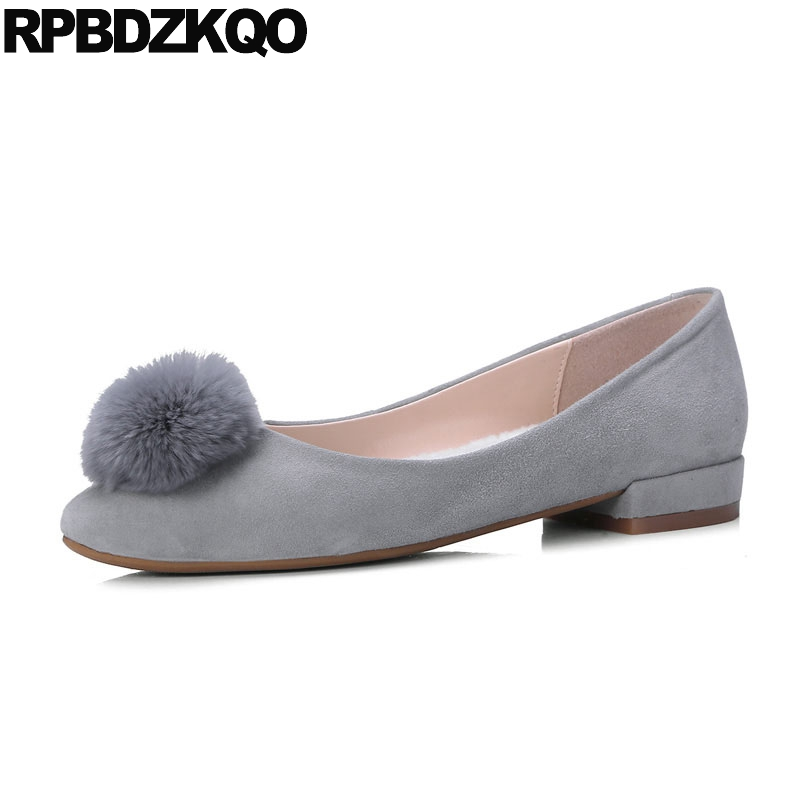 Chic Suede Cute Grey Chinese Nude Slip On Flats Designer -4393