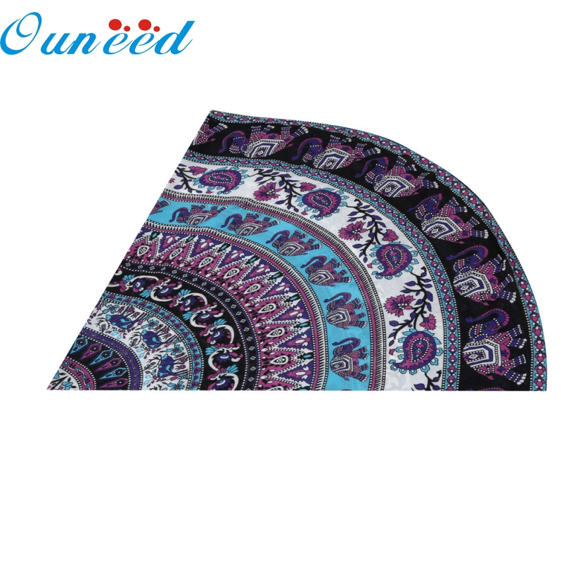 Ouneed Top Grand Round Beach Towel Drying Compact Travel Sports Camping Swiming Table Cloth Yoga Mat 150cm For Gift Oct19