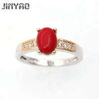 JINYAO Beautiful Romantic Charming Coral Double Gold Color Wedding Ring For Women Engagement Promise Best Gift