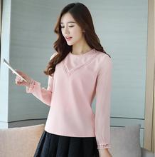 2017 autumn white pink women blouse chiffon shirt fashion vintage folk-custom style long sleeve women blouses plus size shirts