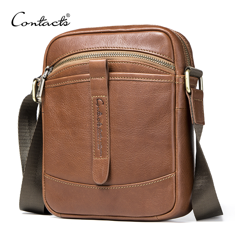 CONTACT'S men genuine leather shoulder bag casual style male bag fashion crossbody bags for man luxury men's bags famous brand