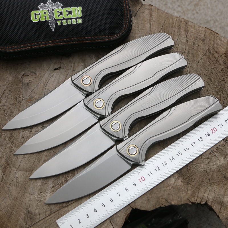 Green thorn F7 Flipper folding knife bearing M390 blade TC4 Titanium handle outdoor camping hunting pocket