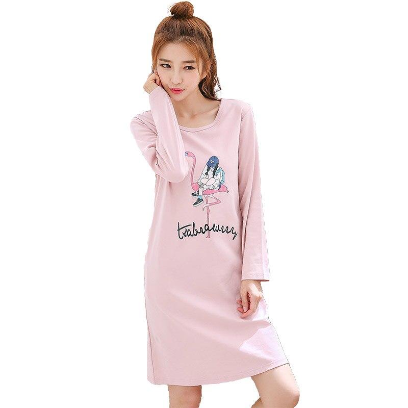 super popular 08bf6 93473 US $13.11 43% OFF|Nachthemden für frauen herbst frühling baumwolle  Nachthemd damen lange ärmeln schlaf kleid mädchen lebendige hause plus  größe ...