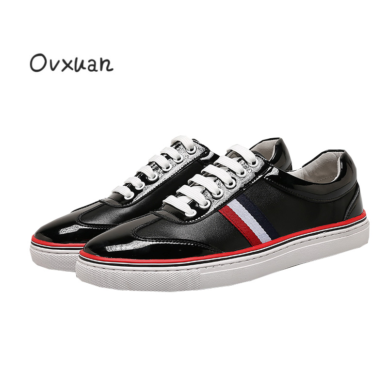 Ovxuan Luxury Brand Mens Shoes Casual Striped Design Chaussure Homme Fashion Party Dress Loafers Male Shoes Zapatos Hombre 2017 fashion men spring casual shoes chaussure homme outdoor sport portable breathable anti skid mesh shoes zapatos casuales hombre
