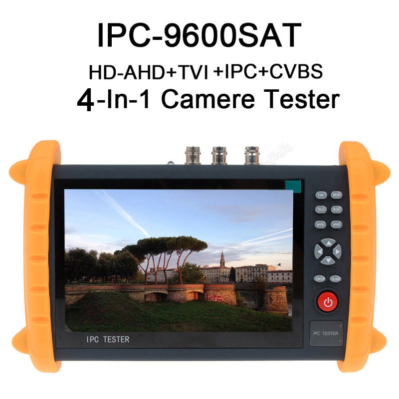 Free shipping!IPC9600SAT 7'' Touch Screen Onvif IP HD-AHD/TVI Analog Camera Tester Monitor 12V wifi ipc 720p 1280 720p household camera onvif with allbrand camera free shipping